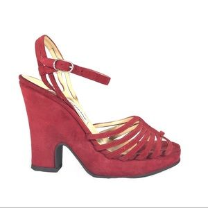 Dolce & Gabbana red suede platform sandals 90s